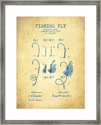 Fishing Fly Patent Drawing From 1892 - Vintage Paper Framed Print