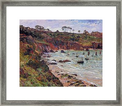 Fishing For Sprats Framed Print by MAxime Emile Louis Maufra