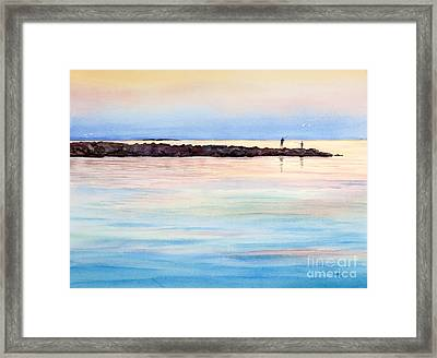 Fishing From The Jetty At Sunset Framed Print