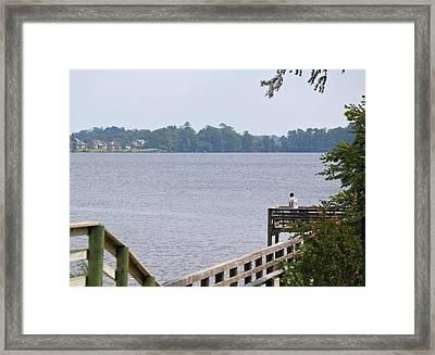 Fishing From The Pier Framed Print by Carolyn Ricks