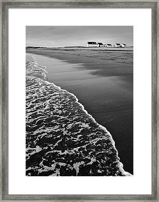 Fishing Houses And Sea Framed Print by Arkady Kunysz