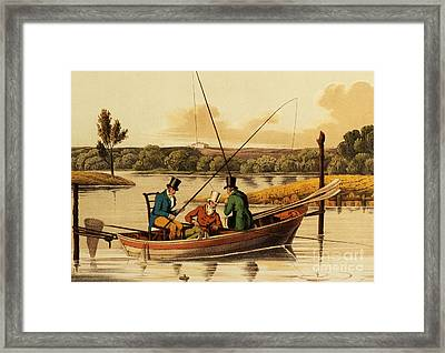 Fishing In A Punt Framed Print by Henry Thomas Alken