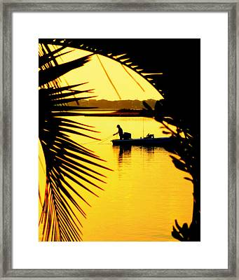 Fishing In Gold Framed Print by Karen Wiles