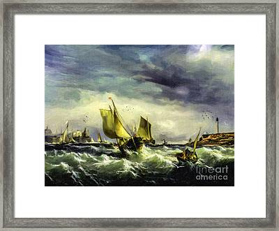 Framed Print featuring the digital art Fishing In High Water by Lianne Schneider