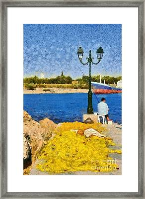 Fishing In Spetses Island Framed Print by George Atsametakis