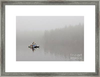 Fishing In The Fog Framed Print by Karin Pinkham