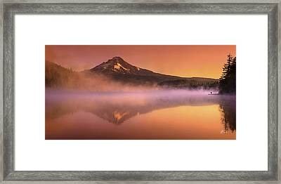 Fishing In The Fog Framed Print