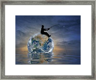 Fishing Is My World Framed Print by Nina Bradica