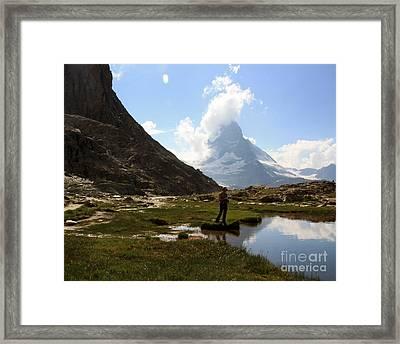 Fishing Lake Matterhorn Framed Print by Juan Romagosa