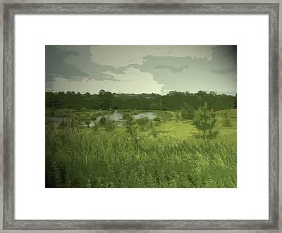 Fishing Lakes Near Ednaston, Birch House Fishing Lakes Framed Print