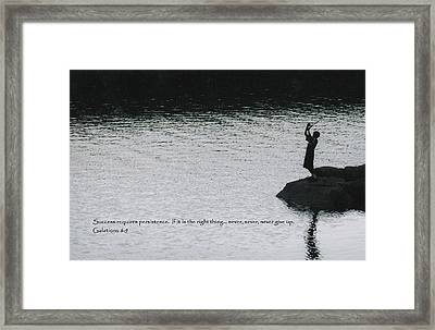 Fishing Late W/scripture Framed Print
