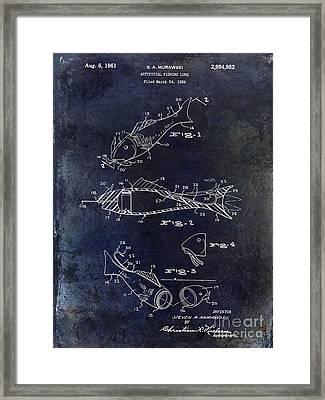 Fishing Lure Patent 1959 Blue Framed Print by Jon Neidert