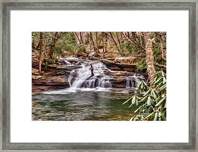 Fishing Mill Creek Falls In West Virginia Framed Print by Dan Friend
