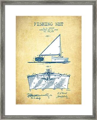 Fishing Net Patent From 1905- Vintage Paper Framed Print