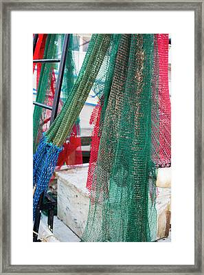 Fishing Nets On A Shrimp Boat Framed Print by Jim West