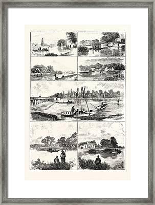 Fishing Nooks On The Thames, Engraving 1876, Uk, Britain Framed Print