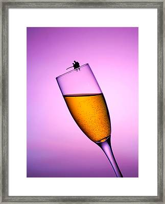 Fishing On A Cup Of Champange Little People On Food Framed Print by Paul Ge