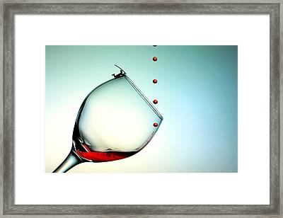 Fishing On A Glass Cup With Red Wine Droplets Little People On Food Framed Print