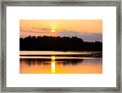Fishing On Golden Waters Framed Print by Parker Cunningham