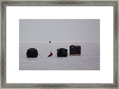 Fishing On Icy Lake Framed Print