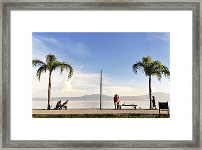 Fishing On Lake Chapala Framed Print by David Perry Lawrence