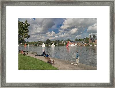 Fishing On Oulton Broad Framed Print by Ralph Muir