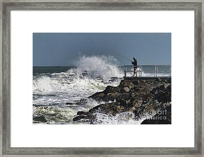 Fishing On The Pier Framed Print by Deborah Benoit