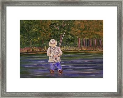 Fishing On The River Framed Print by Belinda Lawson