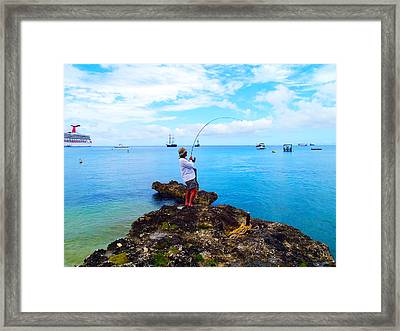 Fishing Paradise Framed Print by Carey Chen