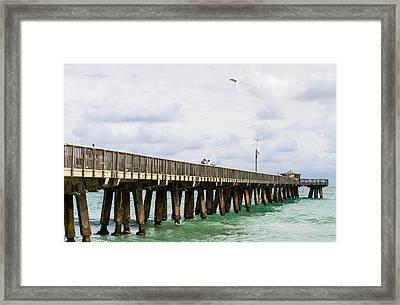 Fishing Pier At Pompano Beach, Broward Framed Print