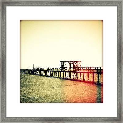 Fishing Pier I Sunset Framed Print