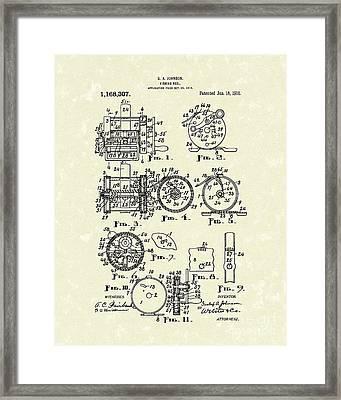 Fishing Reel 1916 Patent Art Framed Print by Prior Art Design