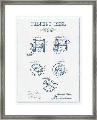 Fishing Reel Patent From 1892 - Blue Ink Framed Print by Aged Pixel
