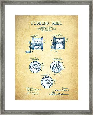 Fishing Reel Patent From 1892 - Vintage Paper Framed Print