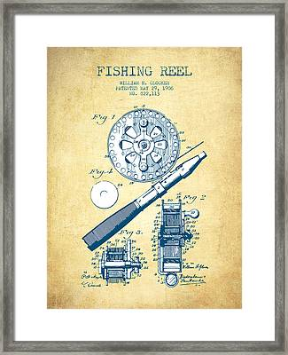 Fishing Reel Patent From 1906 - Vintage Paper Framed Print