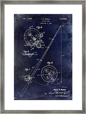 Fishing Reel Patent 1939 Blue Framed Print by Jon Neidert