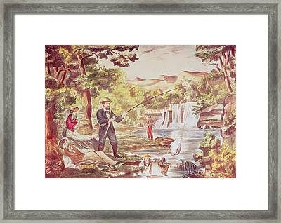 Fishing Scene Framed Print by Chas Hart
