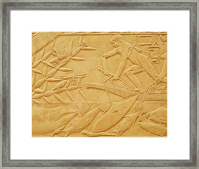 Fishing Scene, From The Mastaba Of Kagemni, Old Kingdom Limestone Framed Print by Egyptian 6th Dynasty