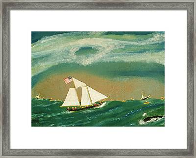 Fishing Schooner Josephine On The Grand Banks Framed Print by John OJ Frost