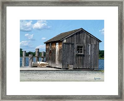 Fishing Shack On The Mystic River Framed Print by RC DeWinter