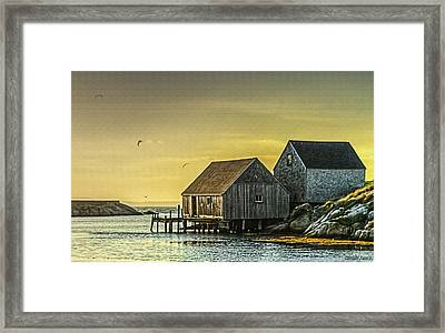 Fishing Shacks At Sunset Framed Print