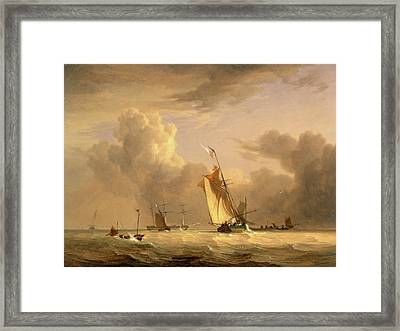 Fishing Smack And Other Vessels In A Strong Breeze Shipping Framed Print