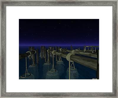 Framed Print featuring the digital art Fishing by Susanne Baumann