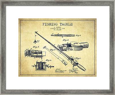Fishing Tackle Patent From 1884 Framed Print by Aged Pixel