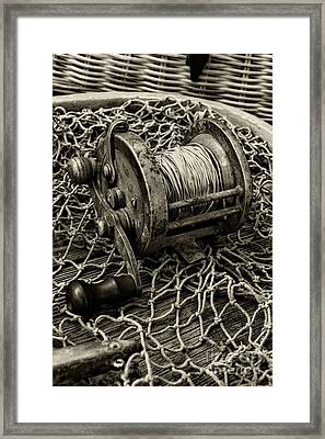 Fishing - That Old Fishing Reel In Black And White Framed Print