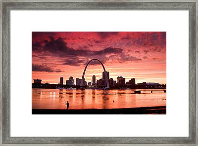 Fishing The Mississippi In St Louis Framed Print