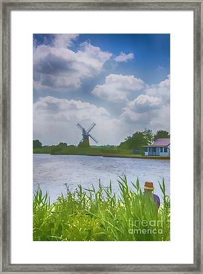 Fishing The Norfolk Broads  Framed Print by Chris Thaxter