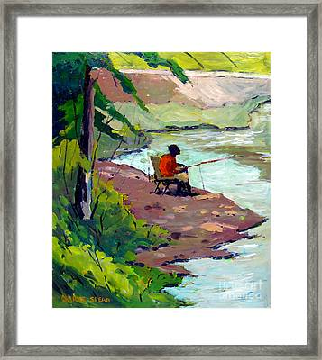 Fishing The Spillway Framed Print by Charlie Spear