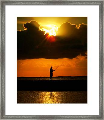 Fishing The Sun Framed Print
