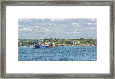 Framed Print featuring the photograph Fishing Trawler Coming Into Port by Jane Luxton